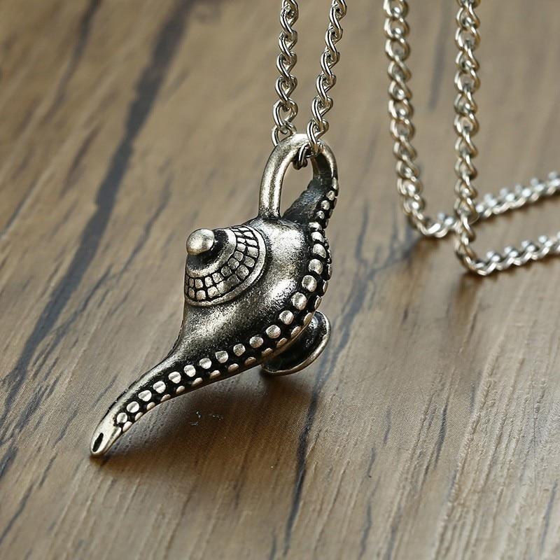 Ancinet, collar de plata para hombre, colgante de lámpara mágica Vantage Genie, accesorios para hombre