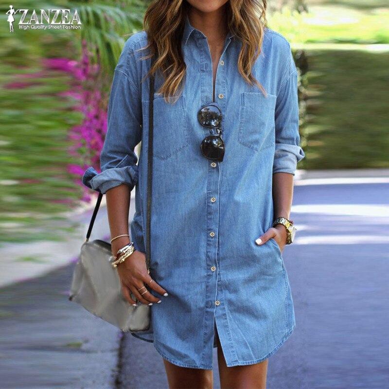 Womens Sundress Plus Size Denim Dress ZANZEA 2020 Spring Casual Jeans Shirt Dresses Female Button Down Mini Vestidos Robe Femme