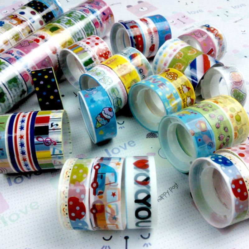 Bulk 10pcs 1.5cmX2.5m Paper Sticky Adhesive Sticker Decorative Washi Tape Children Kids Toy Hand Account Tools for Girls Boy