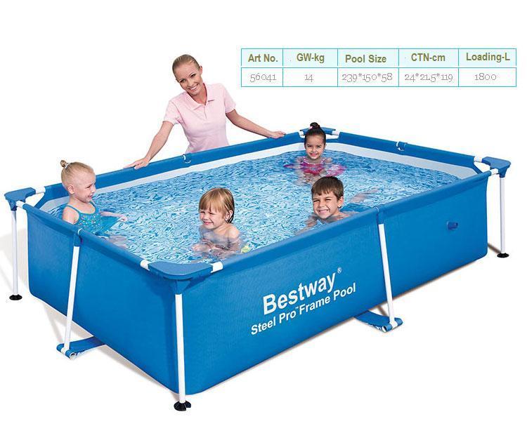 Nenhum estoque! 56402 bestway 239*150*58cm piscina de peixes/dobrável 3 camadas pvc + pe piscina quadrada/grande quadro de metal quadrado piscina para criança