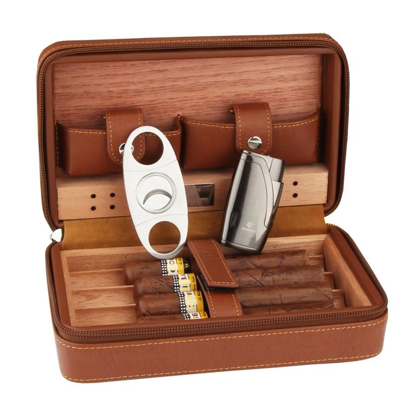 Кожаный чехол для сигары COHIBA Cedar, коробка для сигар, дорожная гимидор, зажигалка для сигар, резак, набор с увлажнителем, подарочная коробка