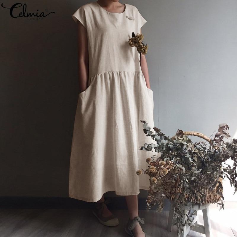Женское винтажное льняное Плиссированное длинное платье с коротким рукавом, повседневное свободное Макси платье большого размера, лето 2020