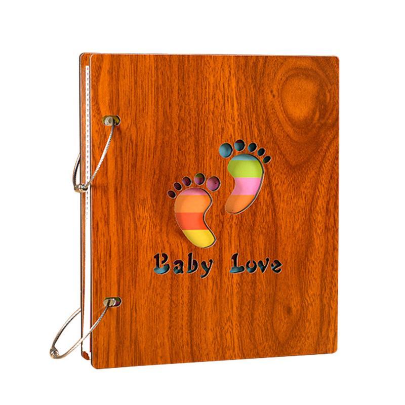 Bebé madera huella de mano álbum de crecimiento recién nacido álbum de gran capacidad recuerdos infantiles regalo de cumpleaños