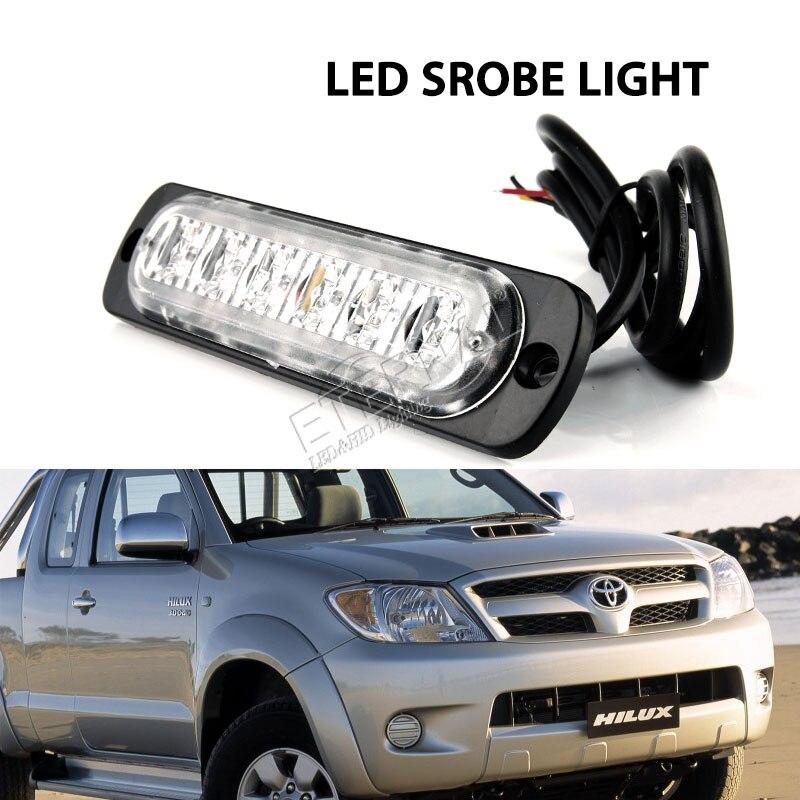 free10pc 6 led strobe light amber blue white green red emergency car motocycles pickup truck signal turn warning light lamp
