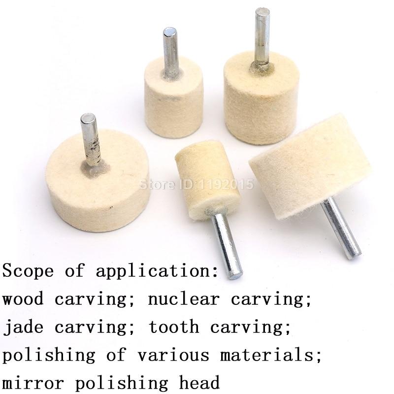 1x 6mm gambo 20-40mm pad feltro di lana lucidatura lucidatura mola - Utensili abrasivi - Fotografia 6