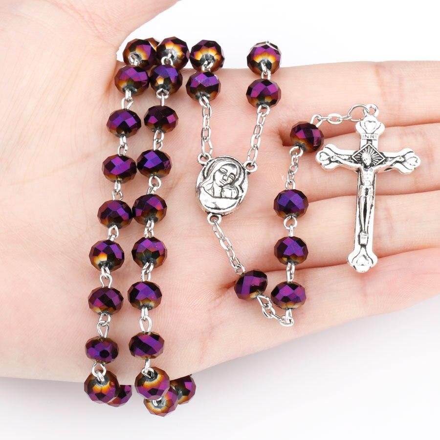 Púrpura imitación Perla Rosa Rosario Católico Cruz crucifijo Smqlivb religiosa Virgen María Santa Virgen collar cadena 70 cm + 15 cm