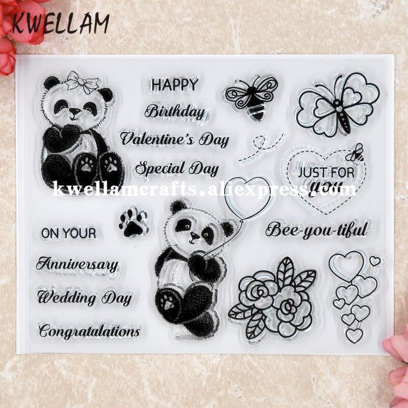 Panda feliz aniversário scrapbook diy cartões de fotos carimbo de borracha selo transparente 13x16cm kw8050413