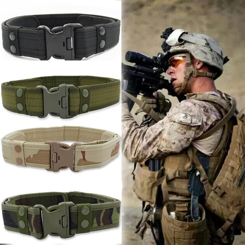 Cinturón militar táctico de lona para hombres, cinturón de camuflaje práctico del ejército al aire libre con hebilla de plástico, equipo de entrenamiento militar #15