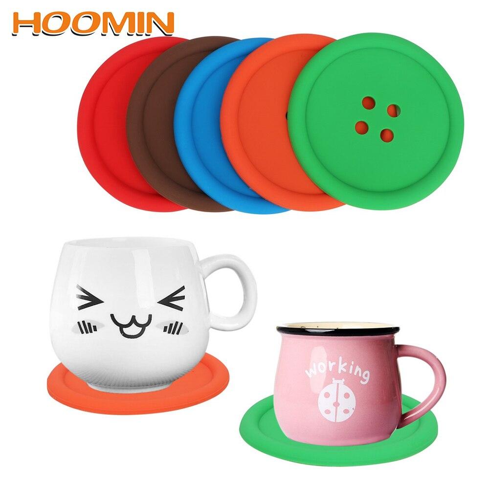 HOOMIN 5 Pçs/set Botões da Almofada Do Copo Coaster Placemats Esteiras De Mesa Decoração de Mesa De Silicone Resistente Ao Calor Cozinha Ferramenta Gadgets
