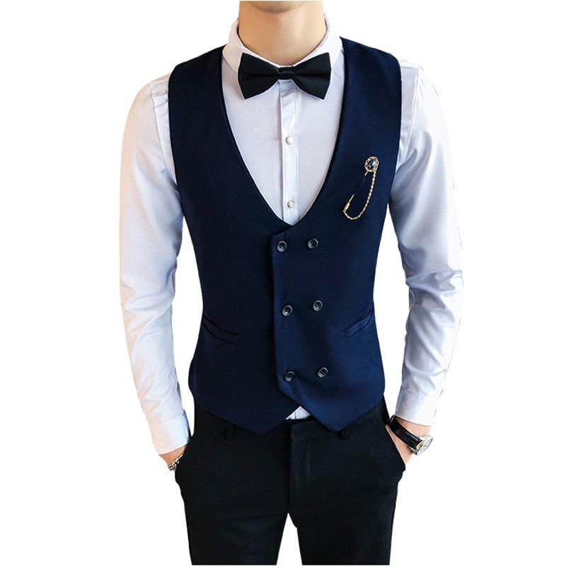 Primavera nueva moda doble botonadura traje Chaleco hombres checo Hombre Chaleco sin mangas hombres Slim Fit boda negocios chalecos