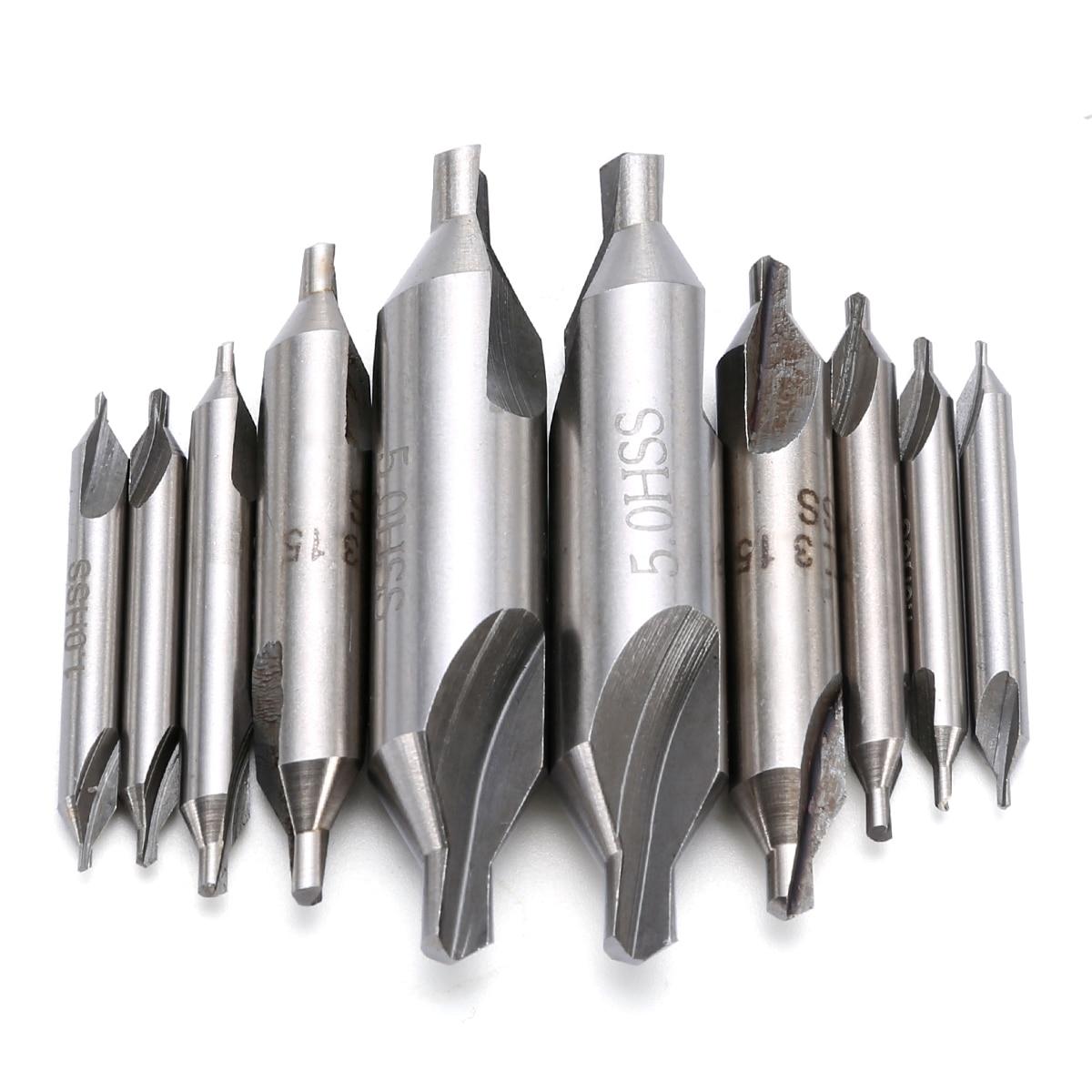 10 stücke 60 Grad Kombiniert Senker-Center Bohrer Bits 1/1.5/2/3.15/5mm High Speed Stahl Für Power Tools