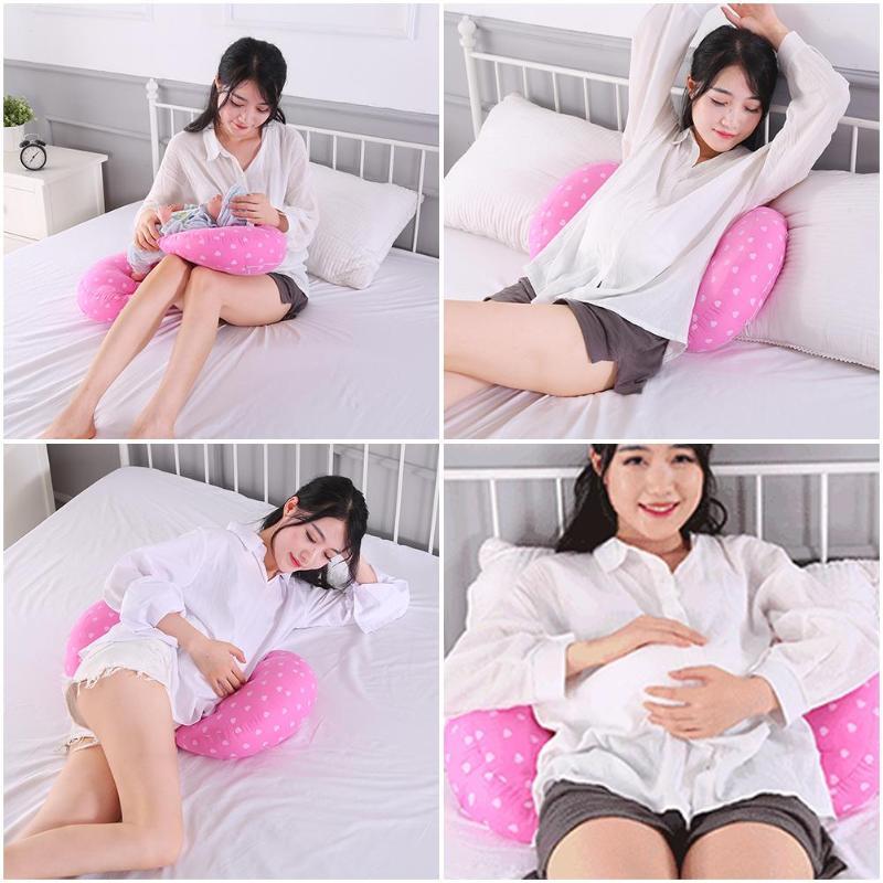 Almohada multifuncional para mujeres embarazadas con soporte en U para el vientre, almohada para dormir lateral, almohada de protección de cintura para maternidad, cojín para cama