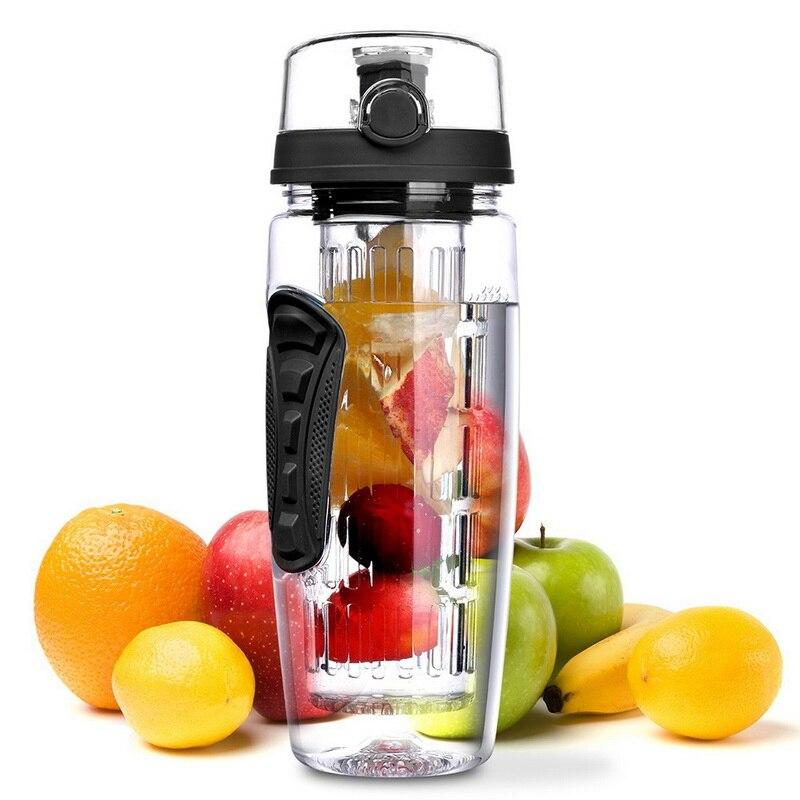 34oz 1000ml Infusor de plástico para fruta jugo de Shaker deportes limón botella de agua Tour senderismo portátil tazas de botellas