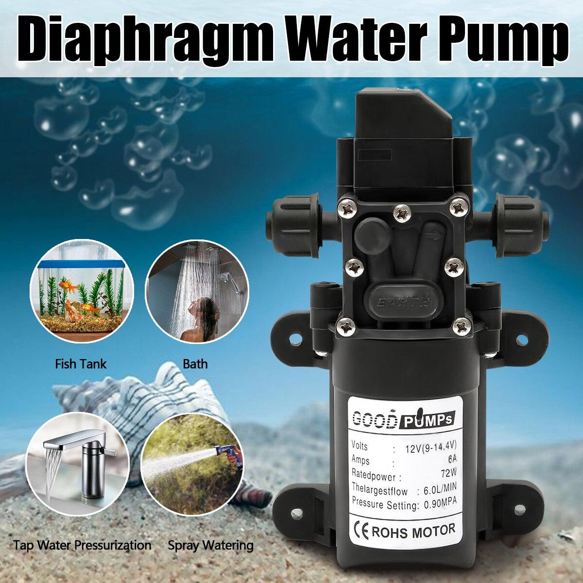 Водяной насос 12В 6А 72 Вт 130PSI 6л/мин стабильный мембранный Водяной насос высокого давления защита от давления водяной опрыскиватель для карав...