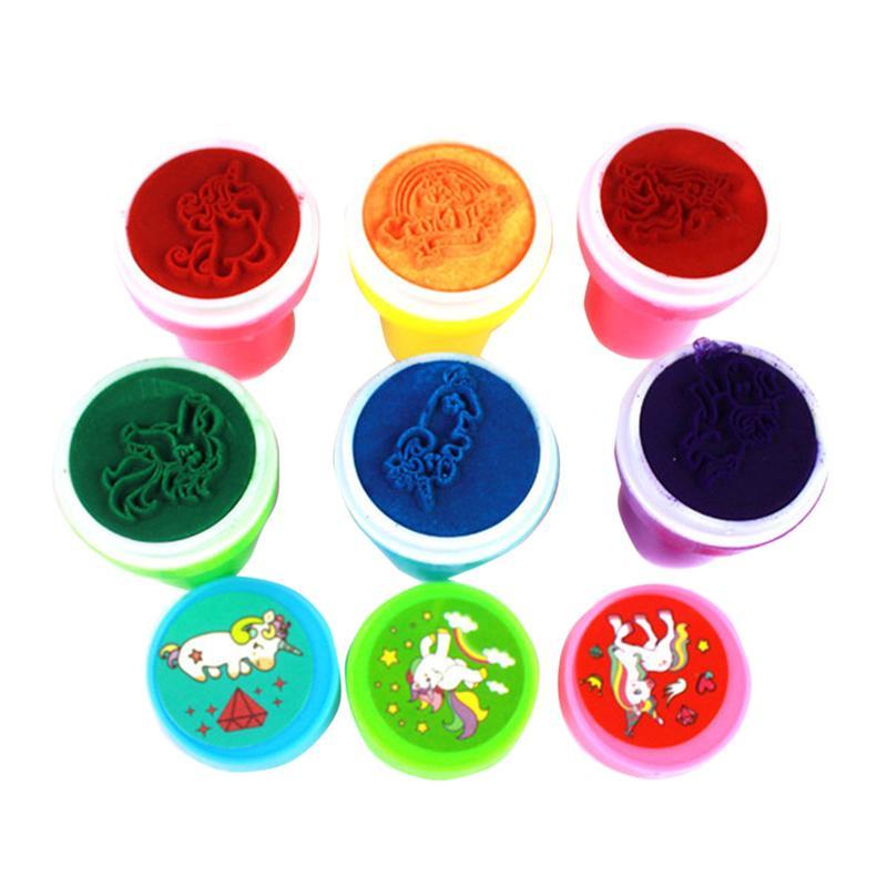 24 piezas de plástico no tóxico Durable divertido creativo unicornio criatura Mini sellos para niños regalos premios Accesorios