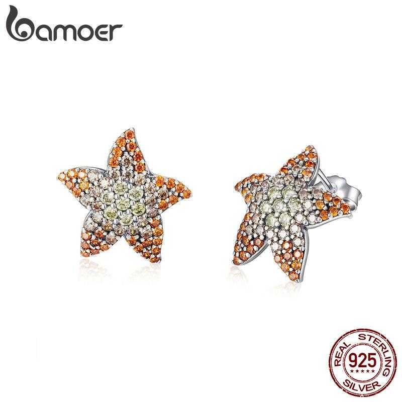 Bamoer 2019 brincos femininos prata 925 metal aaa zircônia cúbica estrela do mar parafuso prisioneiro brinco moda orelhas pino moda jóias sce449