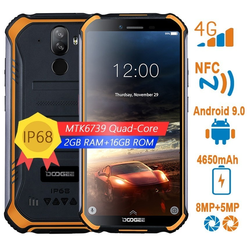 DOOGEE S40 NFC rugged Smartphones 4G Android 9.0 5.5 inch Quad Core shockproof mobile phone 3GB 32GB 8.0MP fingerprint telephone