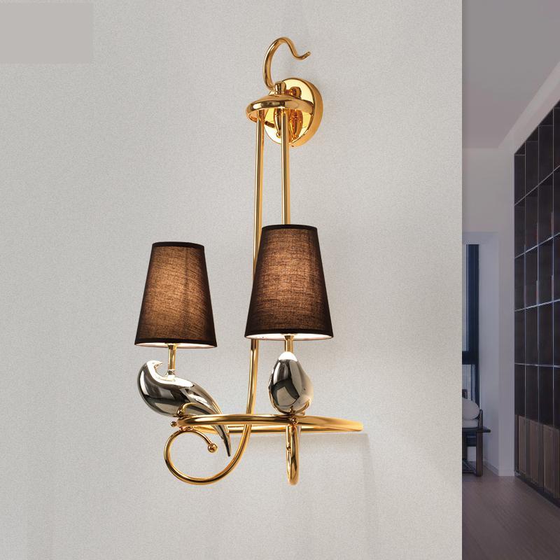 Post modern grande pássaro lâmpada de parede para salão villa neoclássico tecido corredor corredor sala de estar quarto Levou Parede de Luz de parede lâmpada