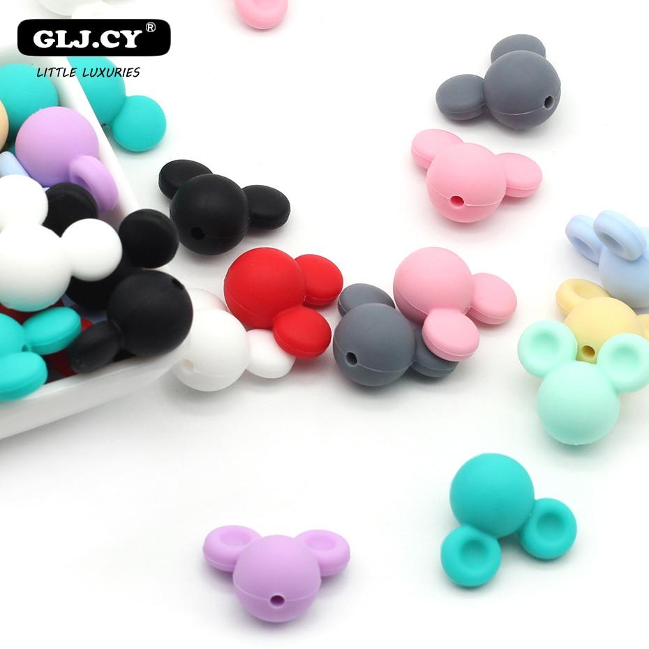 Nuevos accesorios bonitos 10 UDS-20 piezas Mini cuentas de silicona de estilo Mickey BPA DIY cuidado del bebé pulsera chupete para niños