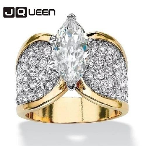 Anillo de compromiso de boda de circonita de cristal de Color dorado para mujer