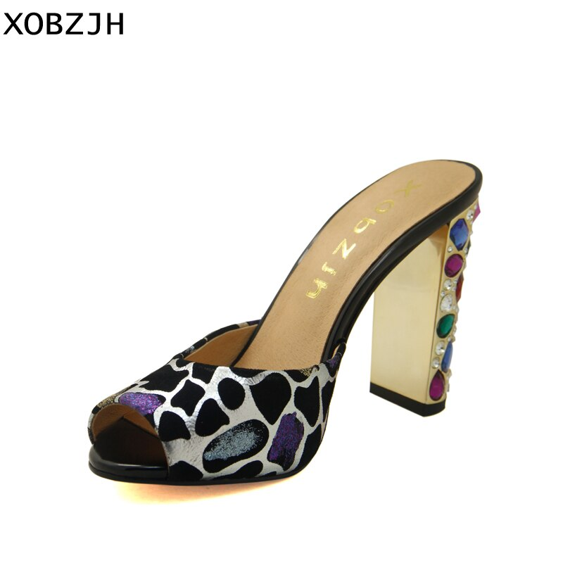 Xobzjh sapatos femininos 2019 luxo strass salto alto sandálias sexy senhoras festa de casamento genuíno couro aberto sapatos mais tamanho