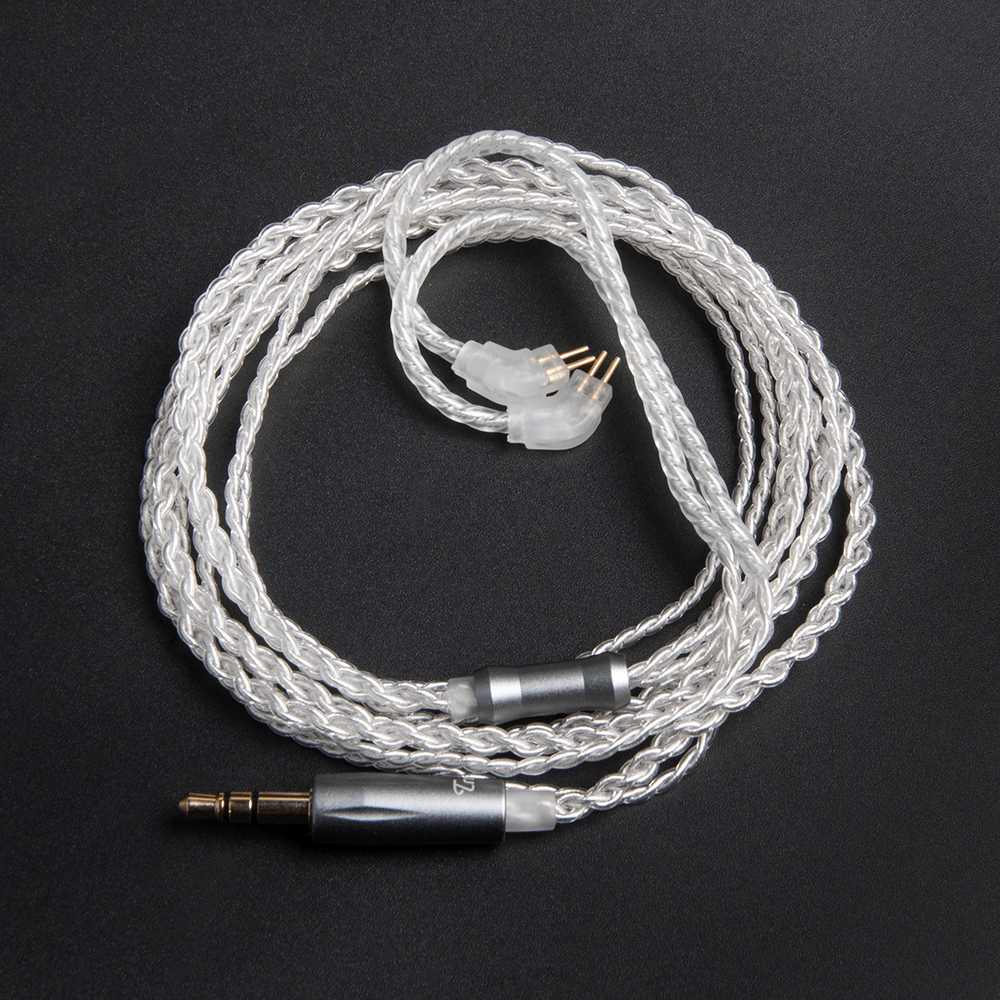 Cable plateado TRN 0,75mm 2 clavija MMCX Cable de reparación plateado para TRN V10 TRN V20 para BGVP DS1 DX3s