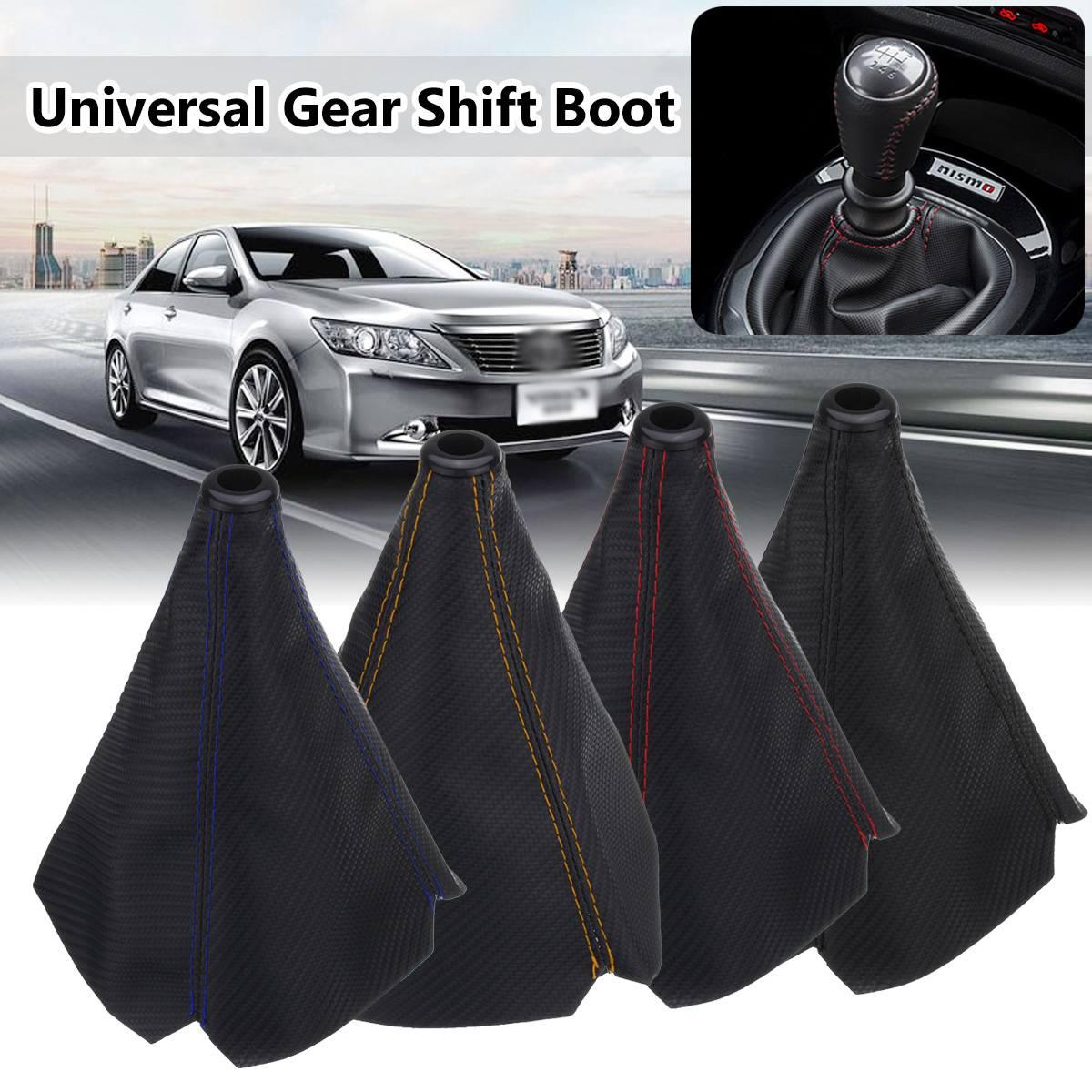 Universal Carbon Fiber Car Auto Gear Shift Collars Car Manual Shifter Gear Shift Boot Cover Gaiter
