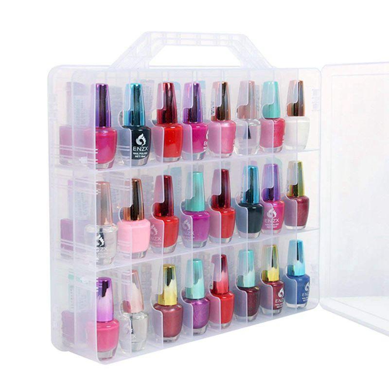 منظم طلاء الأظافر ، حامل عالمي شفاف على الوجهين ، حقيبة تخزين لـ 48 زجاجة قابلة للتعديل