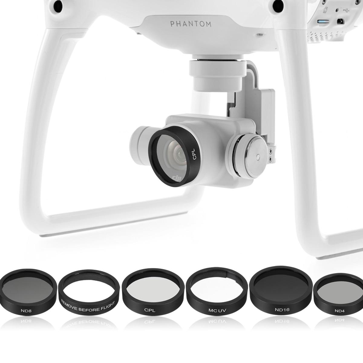 6 قطعة كاميرا عدسة UV + CPL + ND4/8/16 فلتر حماية ل DJI فانتوم 4/ فانتوم 3 برو/المتقدمة RC438