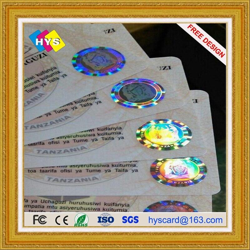 Holográfico de tarjeta de plástico y estampado en caliente de oro o plata TARJETA DE pvc de