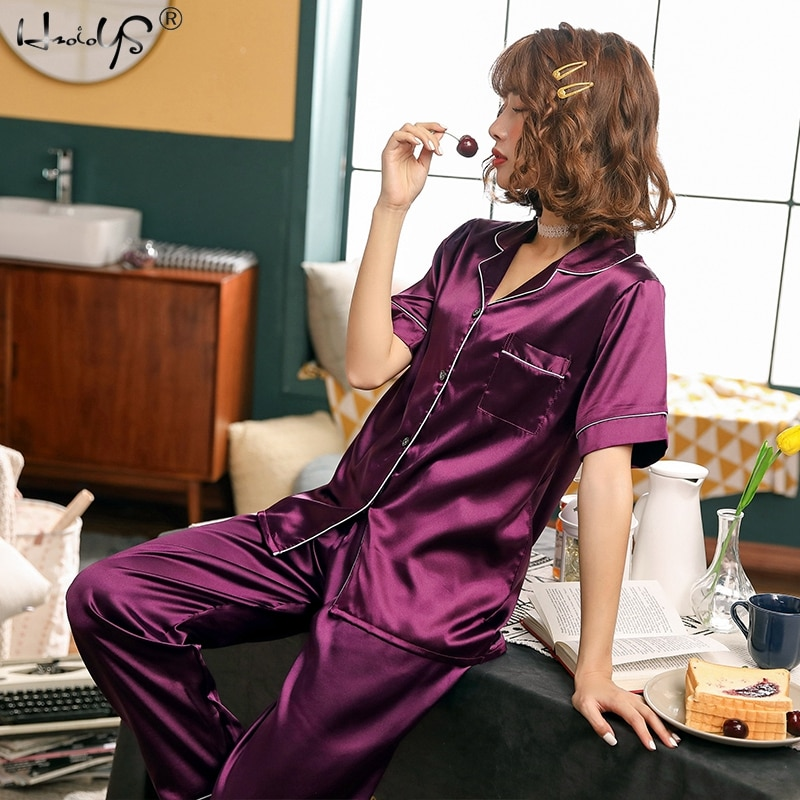 Two Piece Sets Sleepwear Women Silk Satin Pajamas Sets Short Sleeve Top+Long Pants Pyjamas Nightwear Women Casual Home Clothing