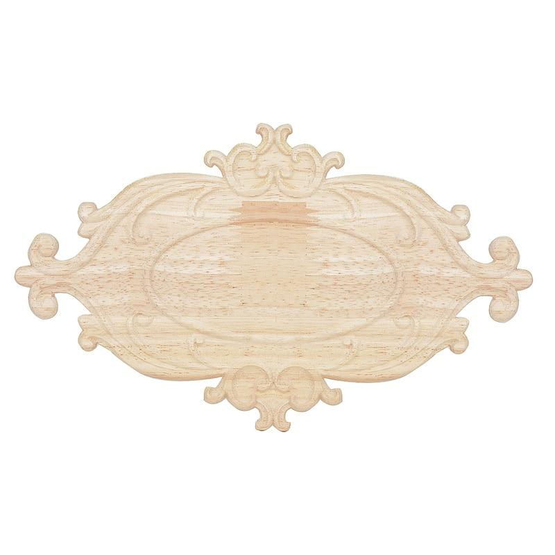Exquisito Floral madera tallada esquina madera etiqueta DIY Onlay esculturas de apliques para Mueble de hogar, armario Decoración
