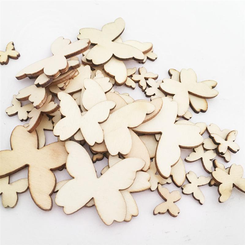 50 Uds. Mariposas de madera de tamaño mixto artesanales DIY animales lindos recortes adornos de madera adornos para cumpleaños boda Navidad