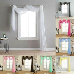 Simples retro sheers cortinas voile tule porta janela cortina cachecol valance têxtil para casa