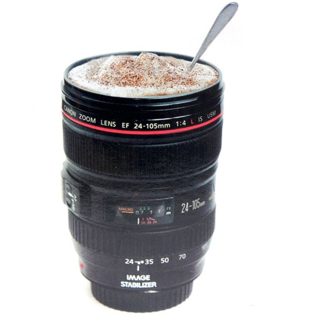 Termo lente cámara para Canon EF 24-105mm tazón taza de café inoxidable W tapa para beber