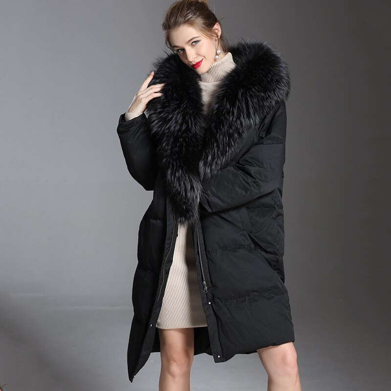 2018 여성 오버 사이즈 다운 재킷 겨울 두꺼운 긴 너구리 모피 90% 화이트 오리 아래로 dacket 여자 1801242 겨울 후드