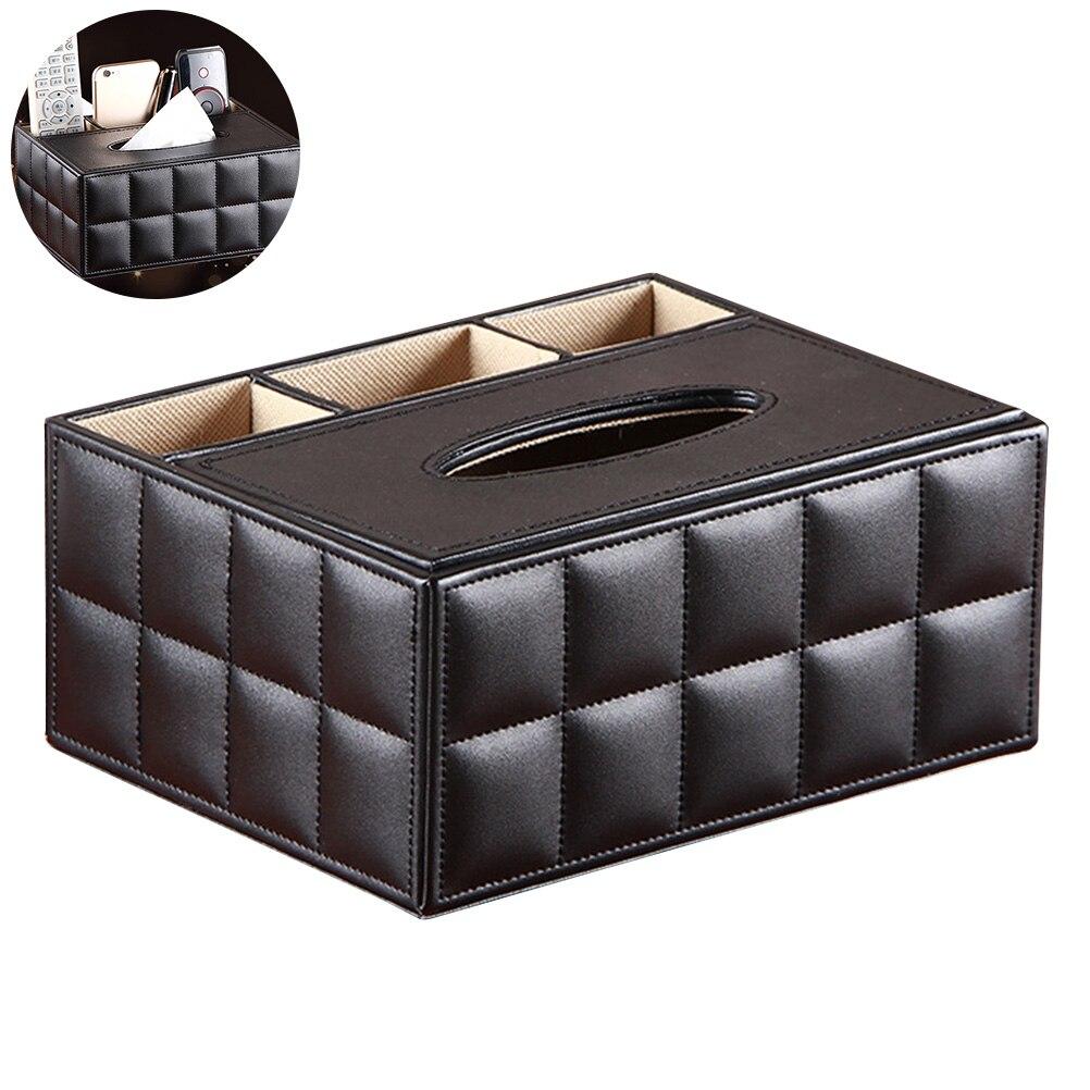 Organizador de escritorio multifuncional, soporte de Control remoto, contenedor de lápiz de tijera, caja de tejido de cuero PU, caja organizadora de almacenamiento
