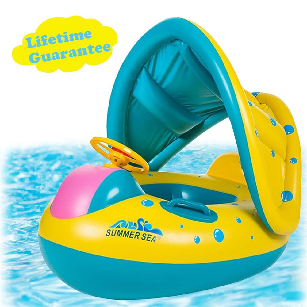 Anillo de natación inflable con forma de barco con toldo parasol para niños bebé verano suministros de protección de natación