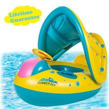 Anneau de natation en forme de bateau gonflable avec auvent pare-soleil pour enfants
