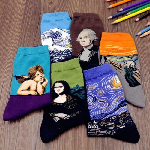 Calcetines Unisex con pintura de noche estrellada para hombre y mujer, calcetines modernos con pintura al óleo del renacimiento de Van Gogh, calcetines de Otoño Invierno