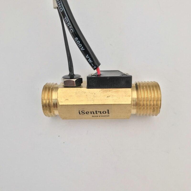 "Sensor de flujo de efecto Hall de USC-HS21TLT con NTC10K B = 3950 Temp. Sensor de inmersión tipo 1-30L/min BSP G1/2 ""flujómetro de turbina"