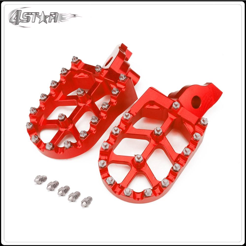 Cnc vermelho pé largo pegs pedais repousa para suzuki rmz 250 450 rmz250 2007 2008 2009 rmz450 2005 2006 2007 bicicleta da sujeira motocross
