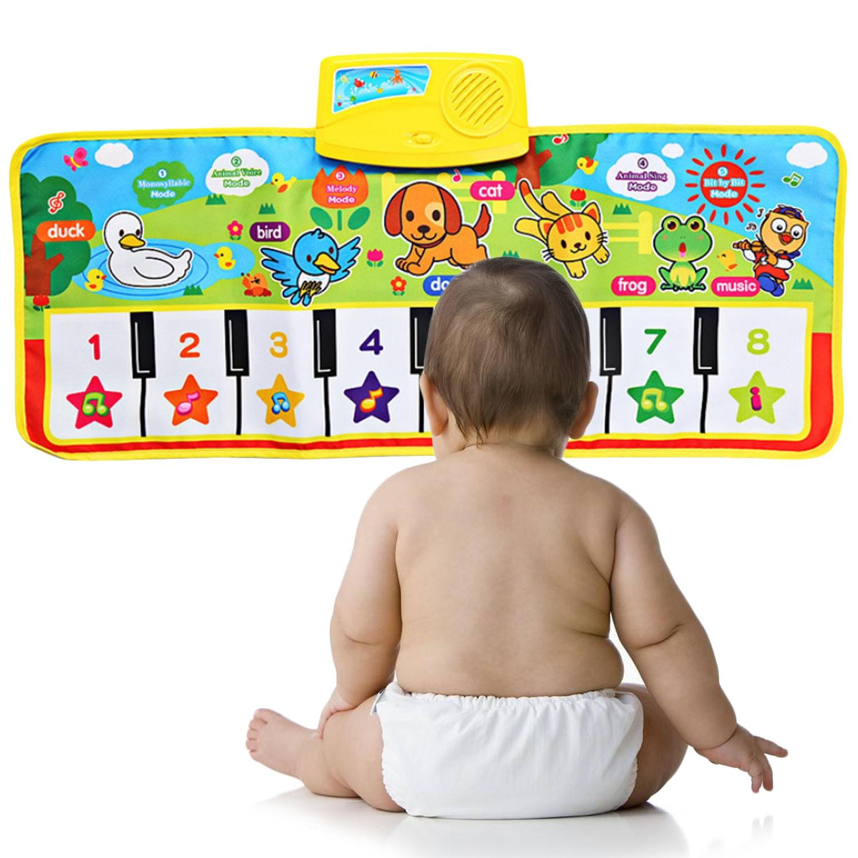 Alfombra de Piano de dibujos animados para niños, Alfombra de instrumento Musical, alfombra con sonido, manta para gatear, juguete educativo