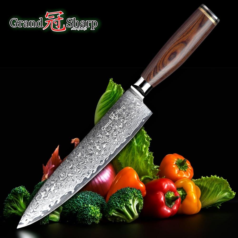 GRANDSHARP 67 capas japonés cuchillo de acero de Damasco Chef cuchillo 8 pulgadas HOJA DE VG-10 cuchillos de cocina japoneses Pakka Handle PRO