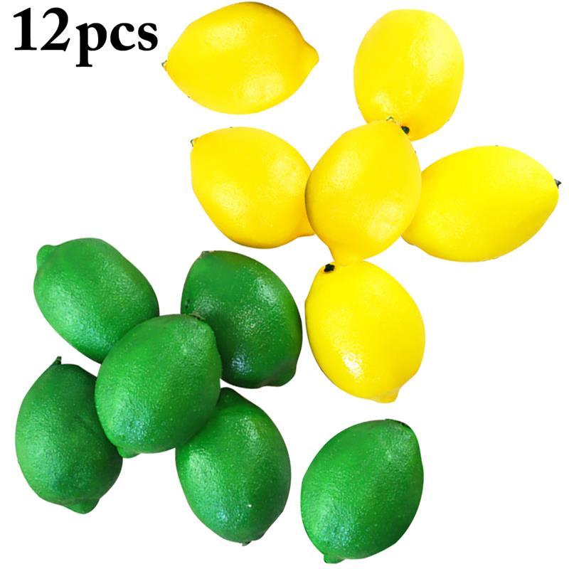 Manzanas de limón artificiales Frutas de plástico manzana roja para decoración de boda frutas de gomaespuma artificiales realistas para decoración del hogar