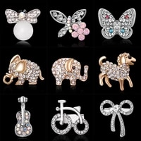 rhinestone pins brooches elephant horse butterfly enamel pin badges hat backpack accessories lovers jewelry gift for women