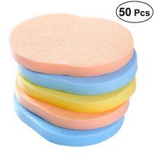 50pcs Wash Face Sponge Facial Cleansing Sponge Fashion Makeup Tools Compressed Pad Powder Puff (Random Color)