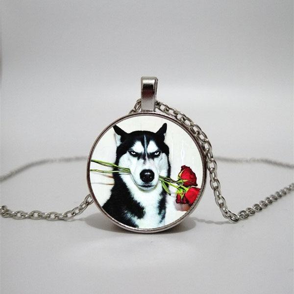 Husky-gargantilla de perro para hombre y mujer, collar de cristal, joyería, colgante,...