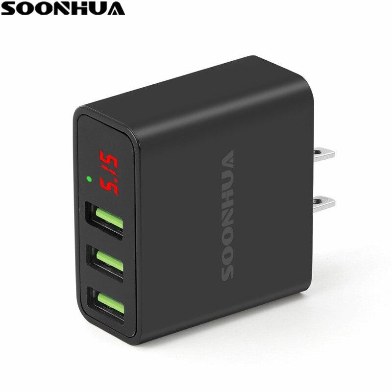 SOONHUA 5 V 3A 3-Port USB Portátil Adaptador de Carregador de Parede Do Telefone Carregador Rápido Com IC Inteligente Display Digital 100-240 V EUA/Plug UE