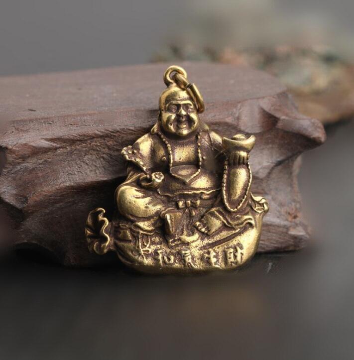 Colección chino latón tallado de la facilidad de uso es propicio para el éxito de la empresa buda feliz exquisito pequeño colgante estatuas